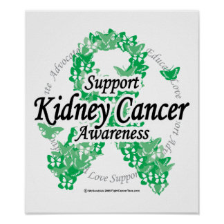 Kidney Cancer Ribbon of Butterflies Poster