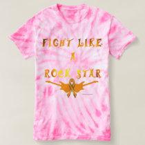 Kidney Cancer Rock Star Ladies Tie-Dye T-Shirt