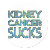 Kidney cancer sucks classic round sticker