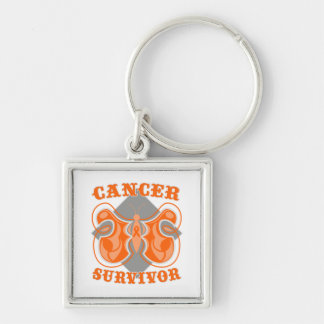 Kidney Cancer Survivor Butterfly v2 Silver-Colored Square Keychain