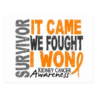 Kidney Cancer Survivor It Came We Fought I Won Postcard