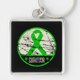 Kidney Cancer Survivor Mens Vintage Silver-Colored Square Keychain