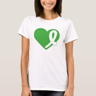 Kidney Cancer t-shirt with Green Heart and Ribbon
