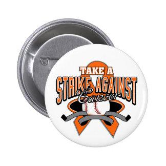Kidney Cancer - Take a Strike Against Cancer Pinback Button