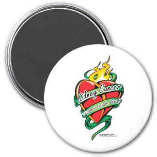 Kidney Cancer Tattoo Heart 3 Inch Round Magnet