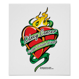 Kidney Cancer Tattoo Heart Poster