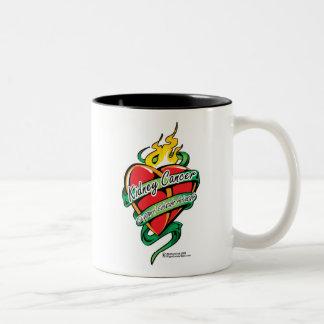 Kidney Cancer Tattoo Heart Two-Tone Coffee Mug