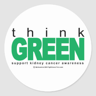 Kidney Cancer Think Green Classic Round Sticker