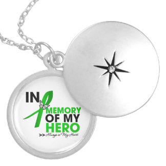 Kidney Cancer Tribute In Memory of My Hero (Green) Round Locket Necklace
