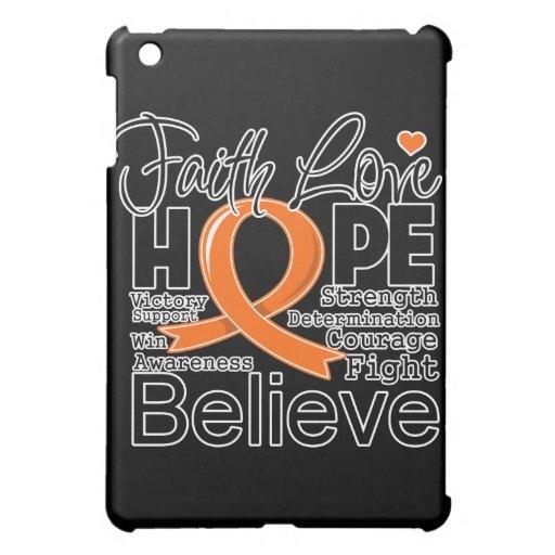 Kidney Cancer Typographic Faith Love Hope (Orange) iPad Mini Covers