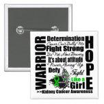 Kidney Cancer Warrior Fight Slogans Pin