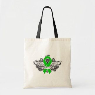 Kidney Cancer Winged SURVIVOR Ribbon Tote Bags