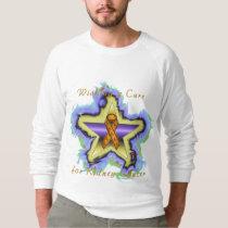 Kidney Cancer Wish Star Men's Raglan Sweatshirt