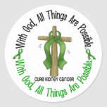 Kidney Cancer WITH GOD CROSS 1 Round Stickers