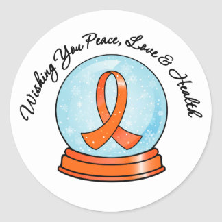 Kidney Caner Merry Christmas Snowglobe v2 Classic Round Sticker