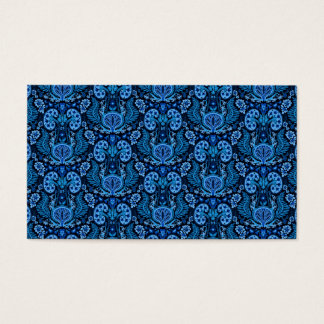 Kidney Damask in Navy Blue Business Card