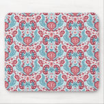 Kidney Damask in Red/Teal Mouse Pad