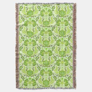 Kidney Damask in Spring Green Throw Blanket