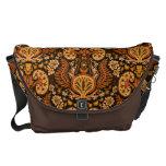 Kidney Damask Rich Wooden Tones Courier Bag