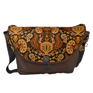 Kidney Damask Rich Wooden Tones Messenger Bags