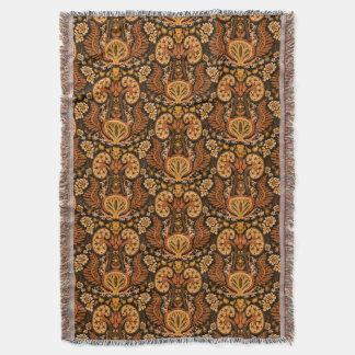 Kidney Damask Rich Wooden Tones Throw Blanket