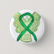 Kidney Disease Awareness Angel Ribbon Art Buttons