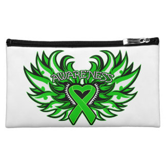 Kidney Disease Awareness Heart Wings Cosmetic Bags
