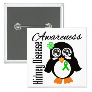Kidney Disease Awareness Penguin Pinback Button
