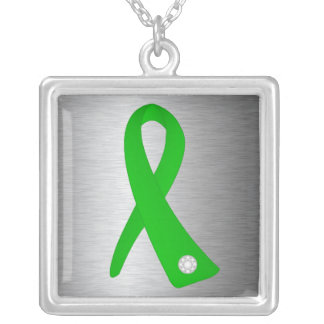 Kidney Disease Awareness Ribbon Square Pendant Necklace