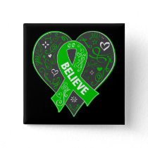 Kidney Disease Believe Ribbon Heart Button