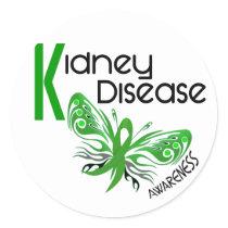 Kidney Disease BUTTERFLY 3.1 Classic Round Sticker