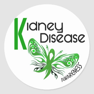 Kidney Disease BUTTERFLY 3.1 Classic Round Sticker