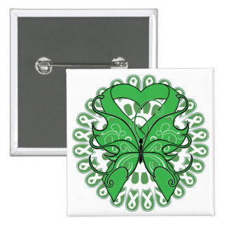 Kidney Disease Butterfly Circle of Ribbons 2 Inch Square Button