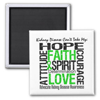 Kidney Disease Can't Take My Hope Collage 2 Inch Square Magnet