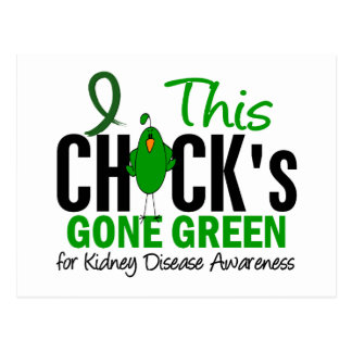 KIDNEY DISEASE Chick Gone Green Postcard