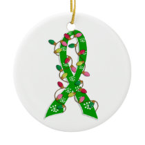 Kidney Disease Christmas Lights Ribbon Ceramic Ornament