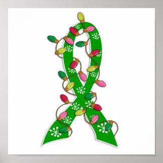 Kidney Disease Christmas Lights Ribbon Print