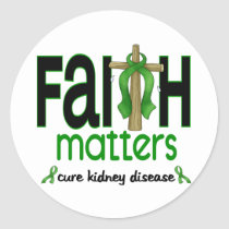 Kidney Disease Faith Matters Cross 1 Classic Round Sticker