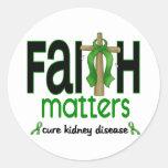 Kidney Disease Faith Matters Cross 1 Round Stickers
