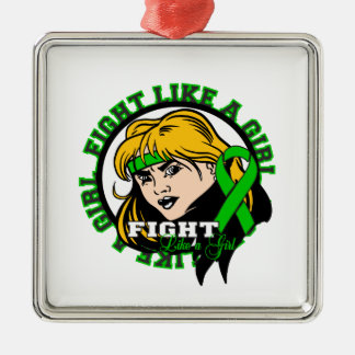 Kidney Disease Fight Like A Girl Attitude Square Metal Christmas Ornament