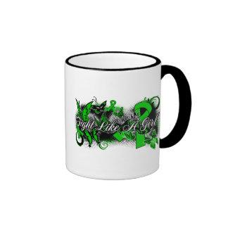 Kidney Disease Fight Like A Girl Grunge Butterfly Ringer Coffee Mug