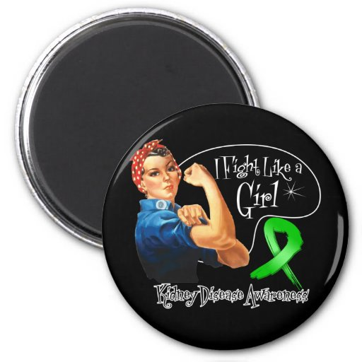 Kidney Disease Fight Like a Girl Rosie The Riveter 2 Inch Round Magnet
