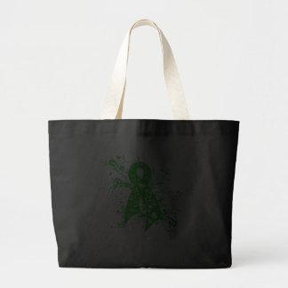 Kidney Disease Floral Swirls Ribbon Canvas Bags