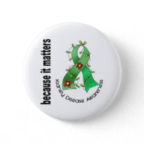 Kidney Disease Flower Ribbon 3 Pinback Button