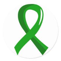 Kidney Disease Green Ribbon 3 Classic Round Sticker