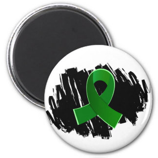 Kidney Disease Green Ribbon With Scribble 2 Inch Round Magnet
