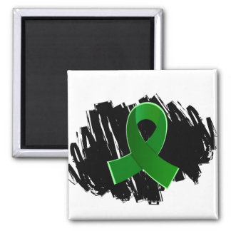 Kidney Disease Green Ribbon With Scribble 2 Inch Square Magnet