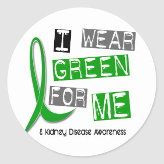 Kidney Disease I Wear Green For ME 37 Round Stickers