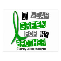 Kidney Disease I Wear Green For My Brother 37 Postcard