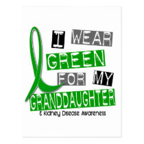 Kidney Disease I Wear Green For My Granddaughter Postcard